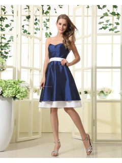 Royal-Blue Sweetheart Natural Floor-length Zipper A-line Ruffles/Sash Sleeveless Taffeta Bridesmaid Dress