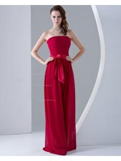 Natural Zipper Sleeveless A-line Ruffles/Sash/Bow Chiffon Strapless Burgundy Floor-length Bridesmaid Dress