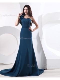 A-line Chiffon Floor-length Zipper Sleeveless One-Shoulder Ink-Blue Natural Ruffles/Flowers Bridesmaid Dress