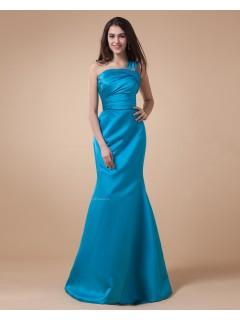 Ruffles/Tiered/Beading Sleeveless Blue Satin Floor-length Mermaid One-Shoulder Natural Zipper Bridesmaid Dress