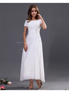 Sleeveless Ankle-length Ruffles/Beading Zipper A-line Natural Bateau Chiffon White Bridesmaid Dress