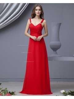 Floor-length Chiffon A-line Red Straps Ruffles/Flowers Natural Sleeveless Zipper Bridesmaid Dress
