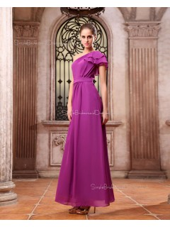 Natural Fuchisa Zipper Sleeveless Floor-length Chiffon Ruffles/Tiered/Draped One-Shoulder A-line Bridesmaid Dress