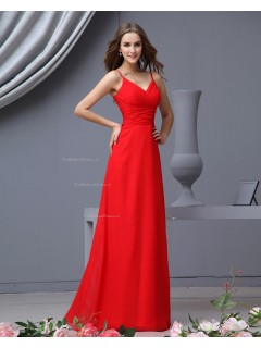 Sleeveless Spaghetti-Straps Zipper Chiffon Natural Red A-line Ruffles/Draped Floor-length Bridesmaid Dress