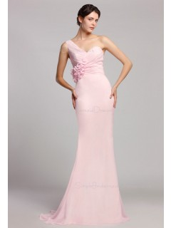 One-Shoulder Sleeveless Natural Pink Ruffles/Flowers Mermaid Zipper Floor-length Chiffon Bridesmaid Dress