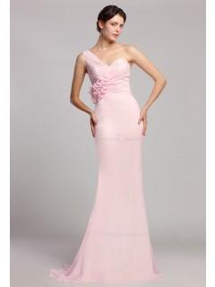 One-Shoulder Sleeveless Natural Pink Ruffles/Flowers Mermaid Zipper Floor-length Chiffon Bridesmaid Dress