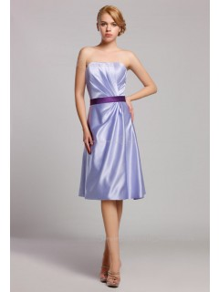 Sleeveless Sweetheart Satin Zipper Empire Lavender Ruffles/Sash A-line Knee-length Bridesmaid Dress