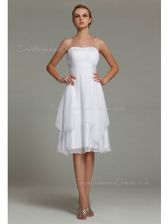 Zipper A-line Knee-length Natural Strapless Ruffles/Tiered Chiffon Sleeveless White Bridesmaid Dress
