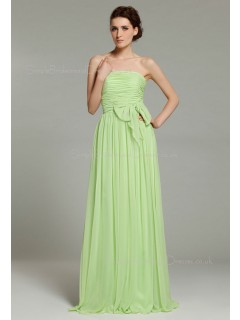 Ruffles/Sash/Bow Strapless Floor-length Sage Chiffon Sleeveless A-line Natural Zipper Bridesmaid Dress