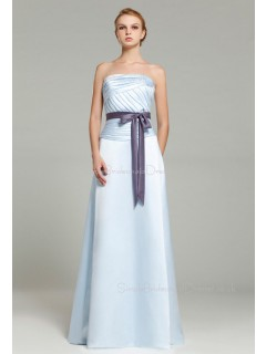Sleeveless Satin Floor-length Ruffles/Sash A-line Strapless Zipper Light-Sky-Blue Natural Bridesmaid Dress