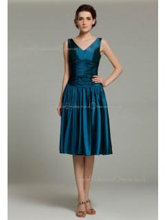 Elastic-Satin Knee-length Sleeveless Mermaid Ocean-Blue Dropped Zipper Ruffles V-neck Bridesmaid Dress