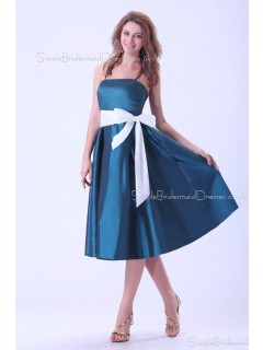 A-line Sleeveless Ink-Blue Tea-length Taffeta Ruffles/Bow Spaghetti-Straps Zipper Natural Bridesmaid Dress