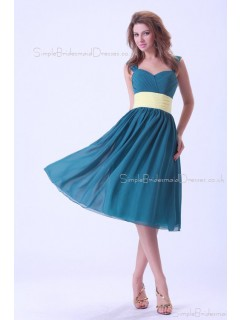 Ocean-Blue Ruffles/Sash Straps Sleeveless Chiffon Natural Zipper A-line Knee-length Bridesmaid Dress