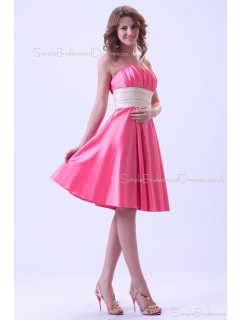 A-line Knee-length Sleeveless Zipper Sweetheart Taffeta Watermelon Natural Ruffles/Sash Bridesmaid Dress