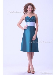 Blue Taffeta Ruffles/Sash Zipper A-line Sweetheart Natural Knee-length Sleeveless Bridesmaid Dress