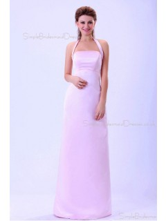 Ruffles/Sash Zipper Sleeveless Halter Satin A-line Natural Floor-length Pink Bridesmaid Dress