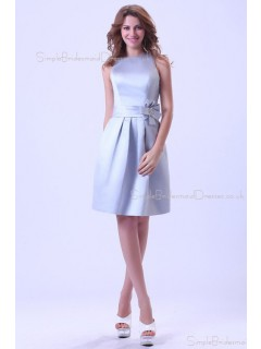 Ruffles/Sash Sleeveless Satin Scoop Silver Short-length Zipper A-line Natural Bridesmaid Dress