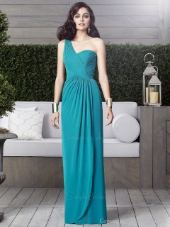 Draped Chiffon One-Shoulder Floor-length Zipper Dropped Sleeveless jade Blue Column/Sheath Bridesmaid Dress