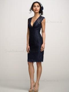 Lace Short  Navy V-neckline Dress UK with Cap Sleeves Bridesmaid Dress