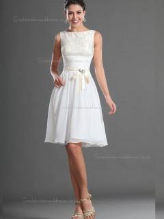 Best White knee length Bridesmaid Dress SBMD-E-1001