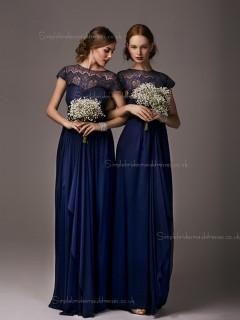 Luxury Stylish Lace Navy Floor Length Bridesmaid dresses