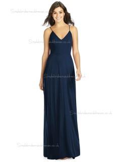 Beautiful Girls Dark Navy Floor Lengh Chiffon A line Bridesmaid Dress SBMD-J-1070