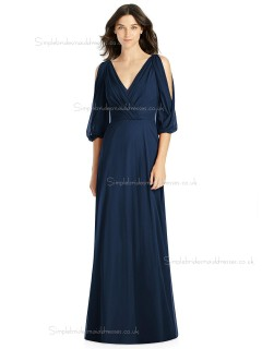 Long dark navy Chiffon Bridesmaid Dresses SBMD-J-1071