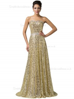 Luxury Golden Sweetheart  Long Sequins Formal Elegant Bridesmaid dress / Evening Dress