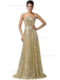 Luxury Golden Sweetheart  Long Sequins Formal Elegant Bridesmaid dress / Evening Dress