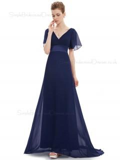 Budget Discount Navy Long Chiffon Bridesmaid Dress