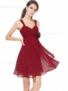 Budget Romantica Burgundy A  Line Chiffon Short (Knee Length) Chiffon Bridesmaid dress / Cocktail Dress