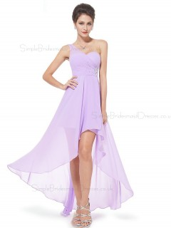 Beautiful Elegant Lilac Long Beading Chiffon Bridesmaid Dress