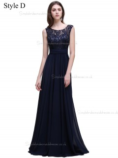 Cheap Amazing Navy Lace Floor-length Chiffon Bridesmaid Dress