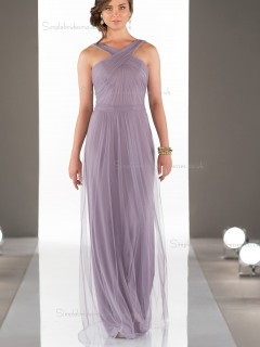 Online Celebrity Lilac Floor Length Flowing Criss-Cross Strap Bridesmaid Dress