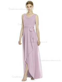 Budget Long Suede Rose Naturl Waist Chiffon Beteau Sleeveless Bridesmaid Dress