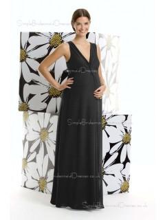 Zipper Natural Chiffon V-neck Black Floor-length A-line Maternity Bridesmaid Dress
