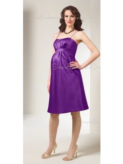 A-line Draped , Ruffles Satin Spaghetti straps Knee-length Purple Sleeveless Zipper Drop Maternity Bridesmaid Dresses