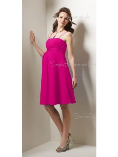 A-line Draped,  Ruffles Chiffon Spaghetti straps Knee-length Red Sleeveless Zipper Natural Maternity Bridesmaid Dresses